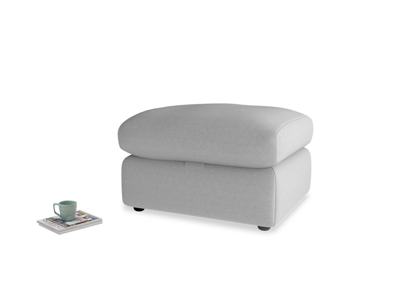 Chatnap Storage Footstool in Magnesium washed cotton linen