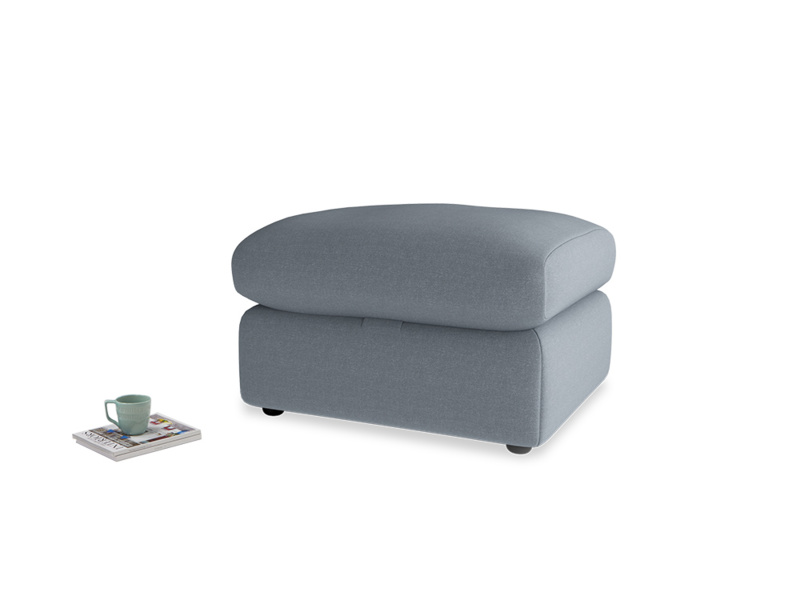 Chatnap Storage Footstool in Blue Storm washed cotton linen