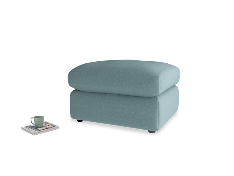 Chatnap Storage Footstool in Marine washed cotton linen