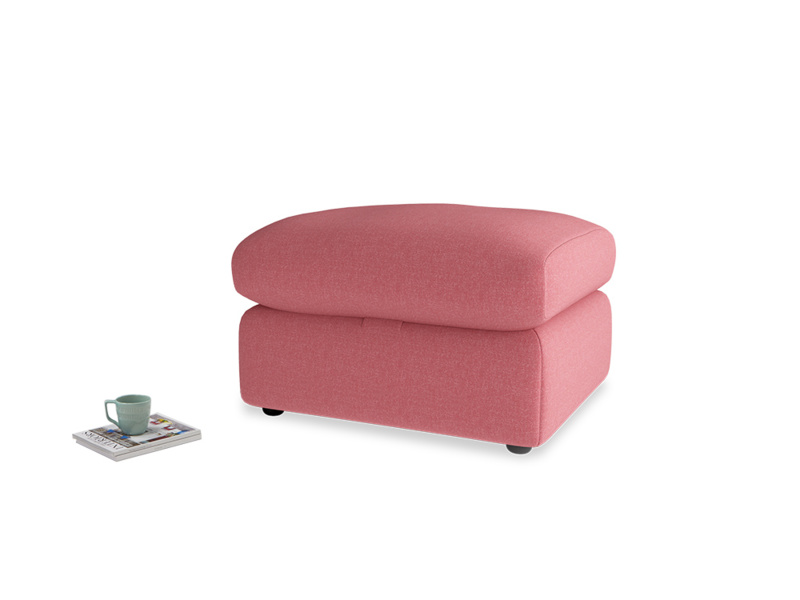 Chatnap Storage Footstool in Raspberry brushed cotton