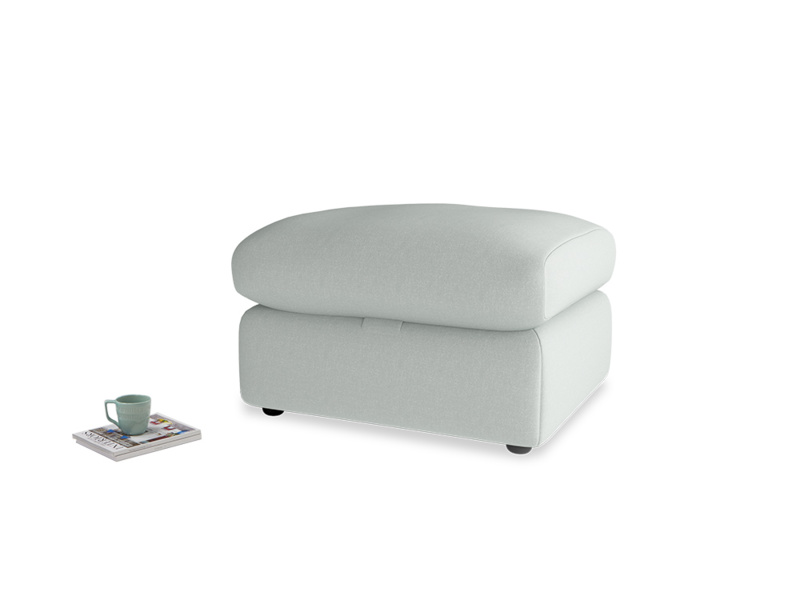 Chatnap Storage Footstool in French blue brushed cotton