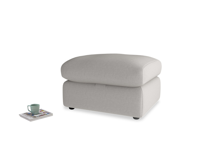 Chatnap Storage Footstool in Wolf brushed cotton