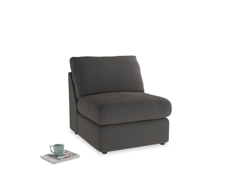 Chatnap Storage Single Seat in Old Charcoal brushed cotton