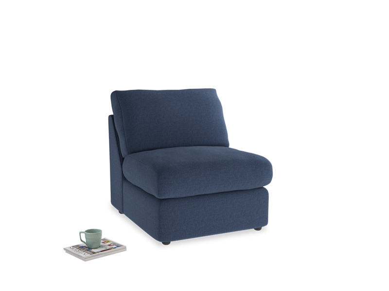 Chatnap Storage Single Seat in Navy blue brushed cotton