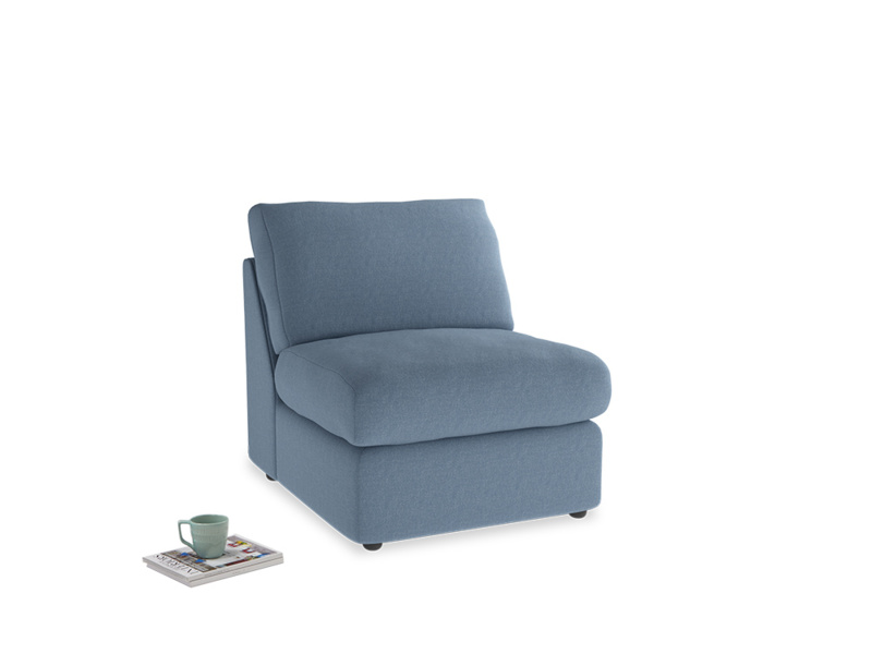 Chatnap Storage Single Seat in Nordic blue brushed cotton