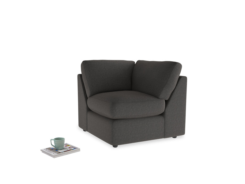Chatnap Corner Unit in Old Charcoal brushed cotton