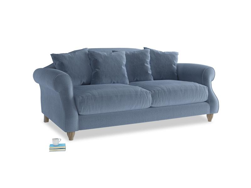 Medium Sloucher Sofa in Winter Sky clever velvet