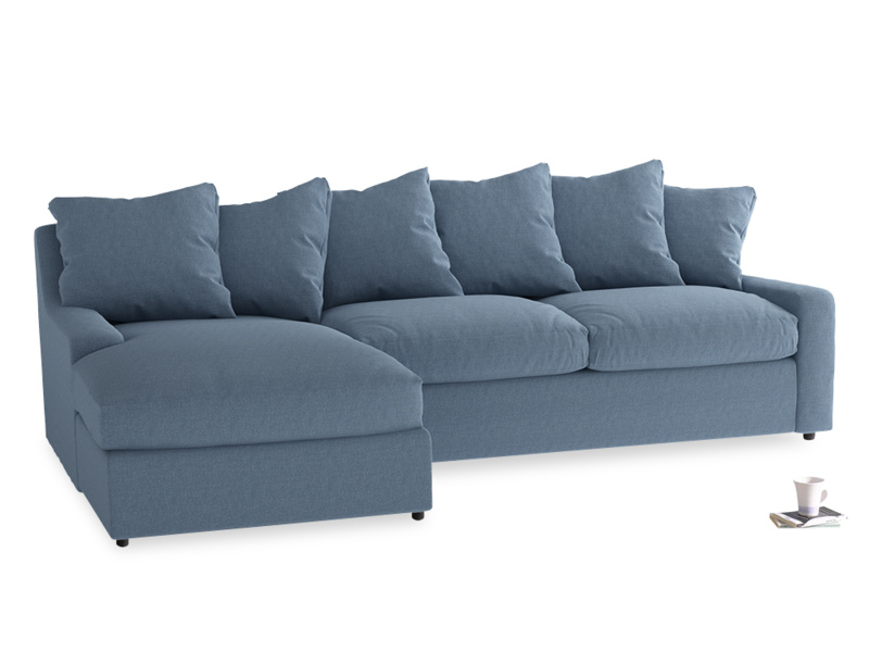 XL Left Hand  Cloud Chaise Sofa in Nordic blue brushed cotton