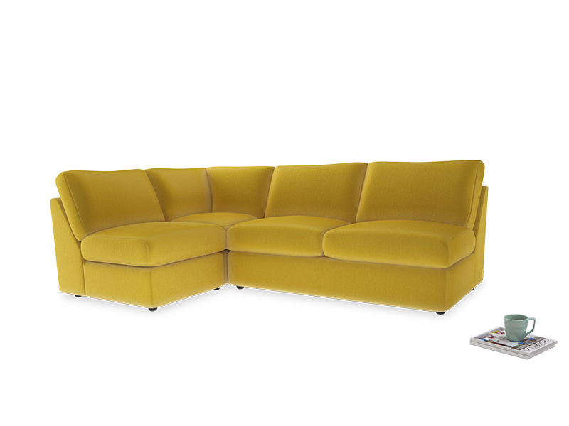 Large left hand Chatnap modular corner sofa bed in Bumblebee clever velvet