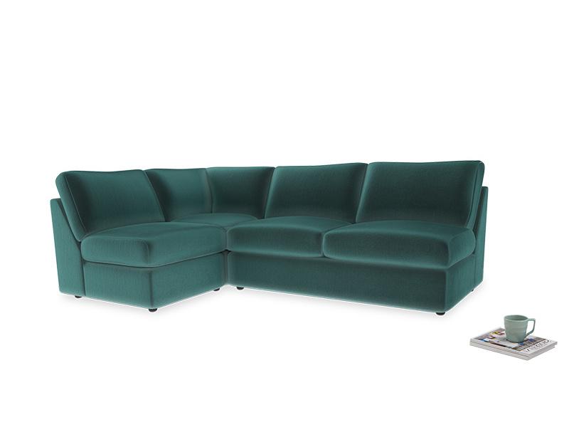 Large left hand Chatnap modular corner sofa bed in Real Teal clever velvet