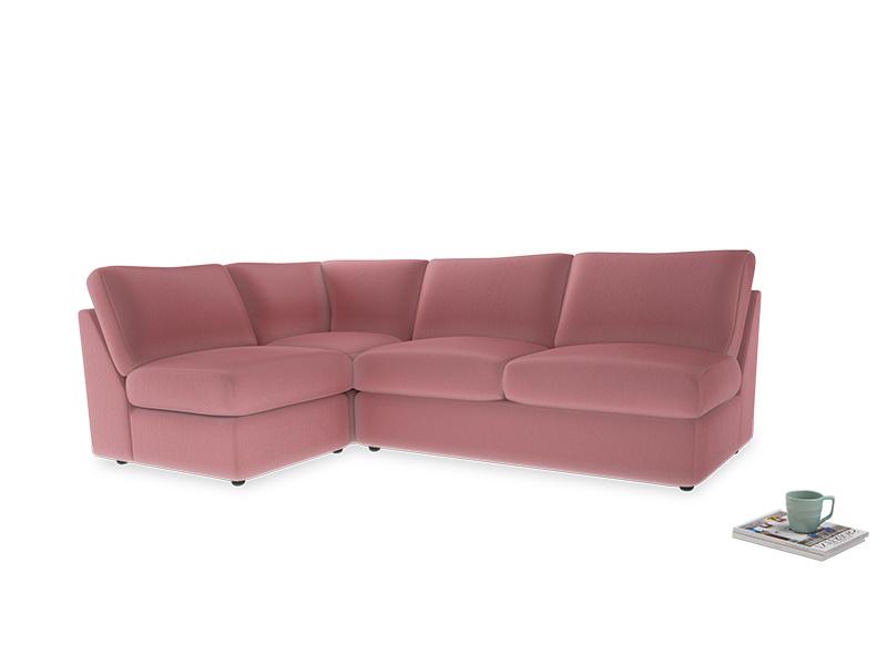 Large left hand Chatnap modular corner sofa bed in Dusty Rose clever velvet