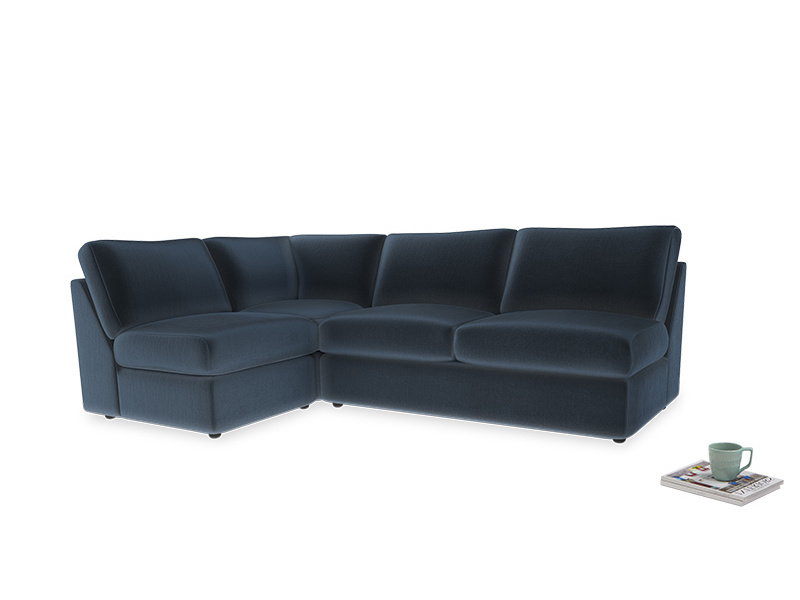 Large left hand Chatnap modular corner sofa bed in Liquorice Blue clever velvet