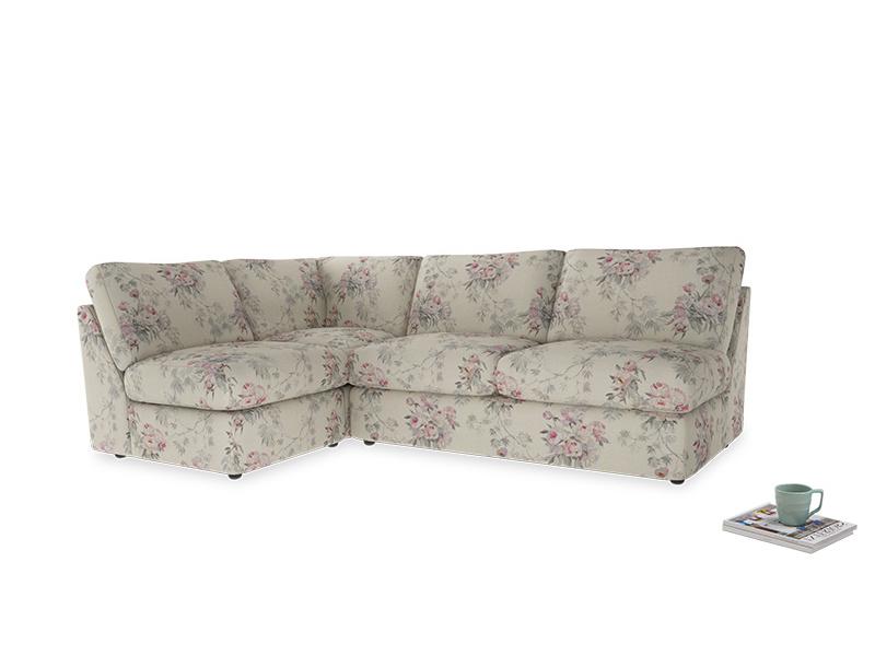 Large left hand Chatnap modular corner sofa bed in Pink vintage rose