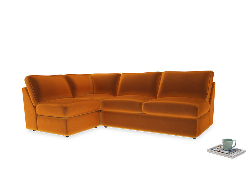 Large left hand Chatnap modular corner sofa bed in Spiced Orange clever velvet