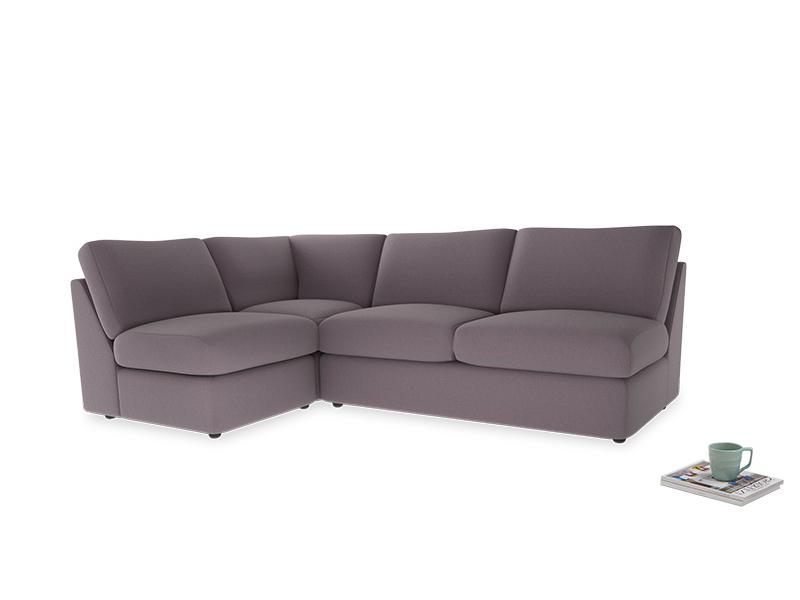 Large left hand Chatnap modular corner sofa bed in Lavender brushed cotton