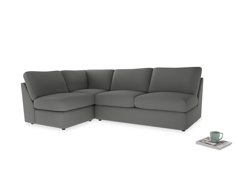 Large left hand Chatnap modular corner sofa bed in French Grey brushed cotton