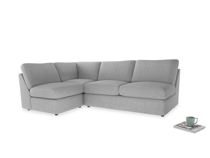 Large left hand Chatnap modular corner sofa bed in Mist cotton mix