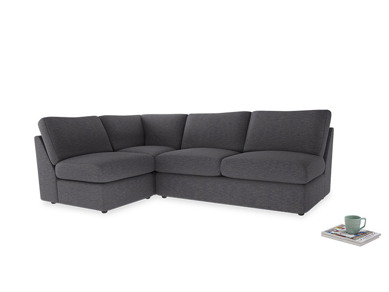 Large left hand Chatnap modular corner sofa bed in Lead cotton mix