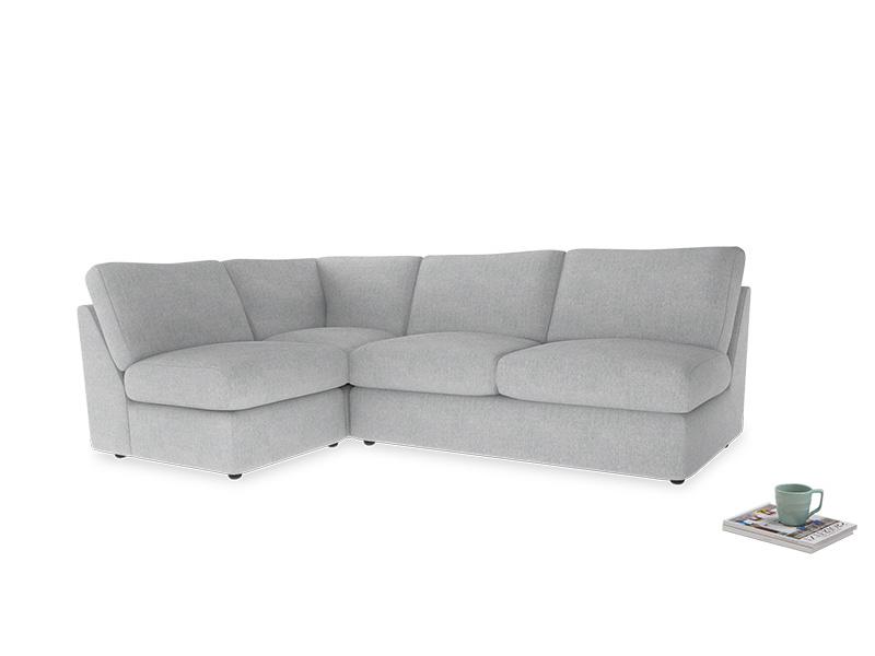 Large left hand Chatnap modular corner sofa bed in Pebble vintage linen