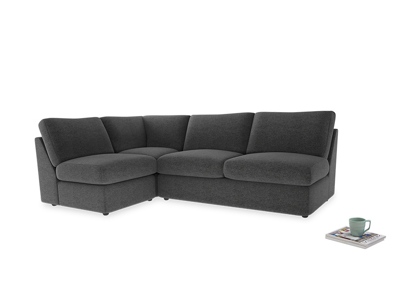 Large left hand Chatnap modular corner sofa bed in Shadow Grey wool