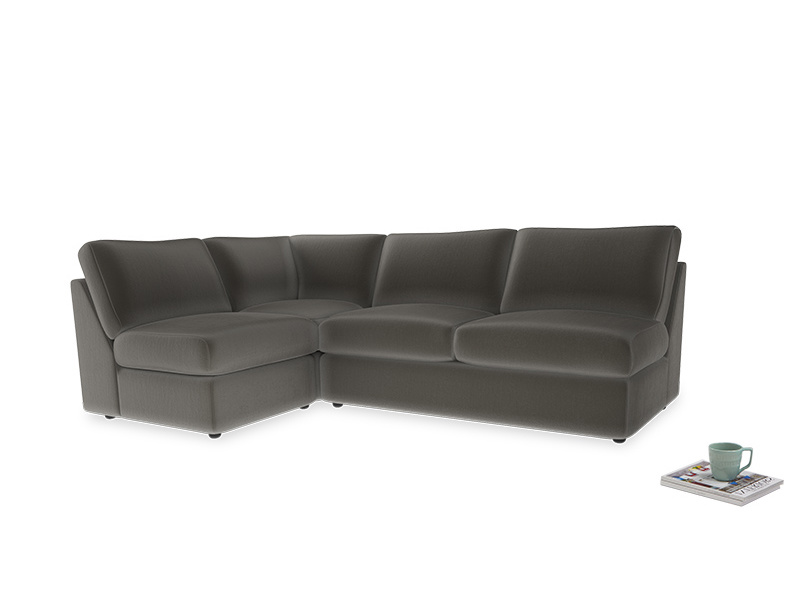 Large left hand Chatnap modular corner sofa bed in Slate clever velvet