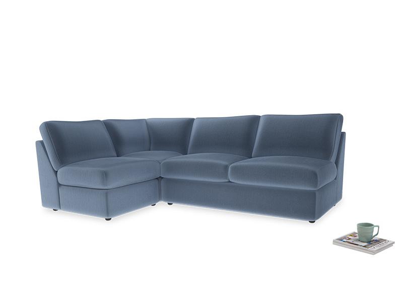 Large left hand Chatnap modular corner sofa bed in Winter Sky clever velvet
