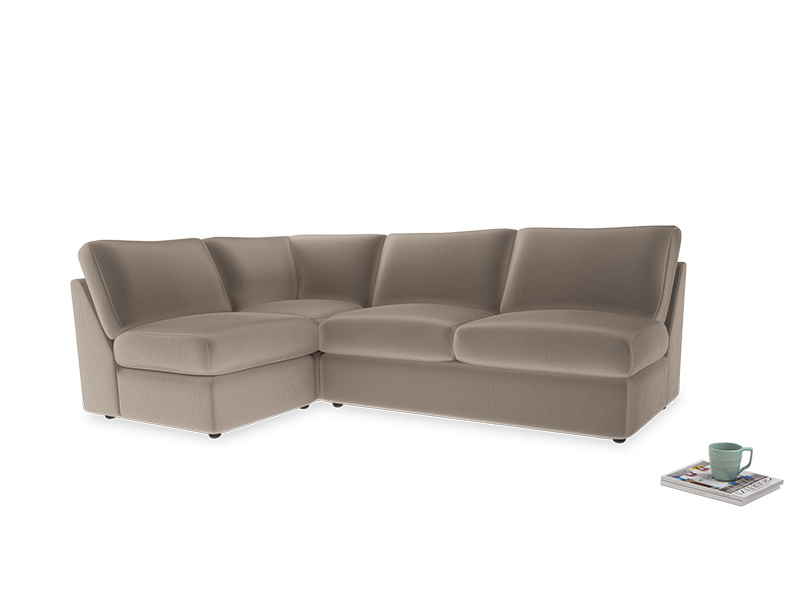 Large left hand Chatnap modular corner sofa bed in Fawn clever velvet