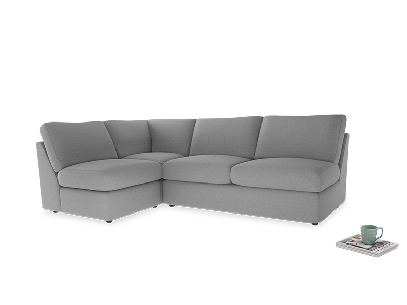Large left hand Chatnap modular corner sofa bed in Magnesium washed cotton linen