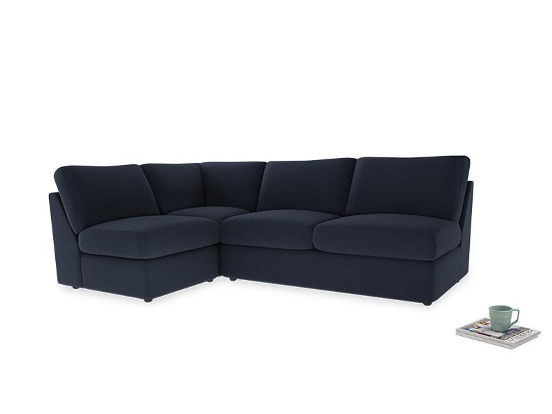 Large left hand Chatnap modular corner sofa bed in Indigo vintage linen