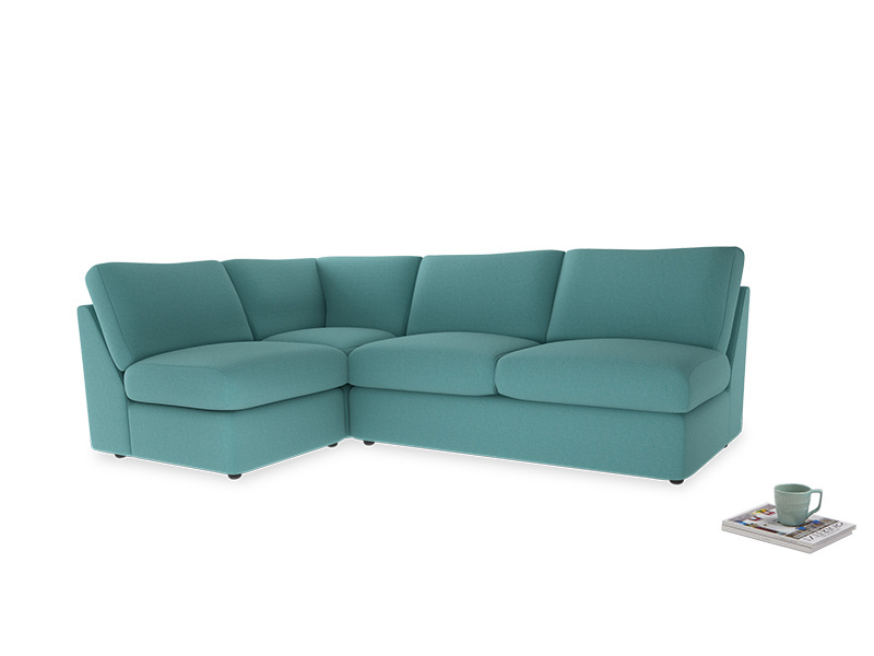 Large left hand Chatnap modular corner sofa bed in Peacock brushed cotton
