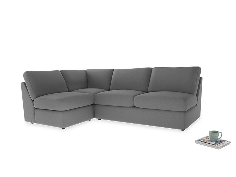 Large left hand Chatnap modular corner sofa bed in Gun Metal brushed cotton