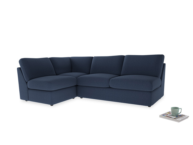 Large left hand Chatnap modular corner sofa bed in Navy blue brushed cotton