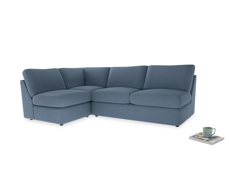 Large left hand Chatnap modular corner sofa bed in Nordic blue brushed cotton