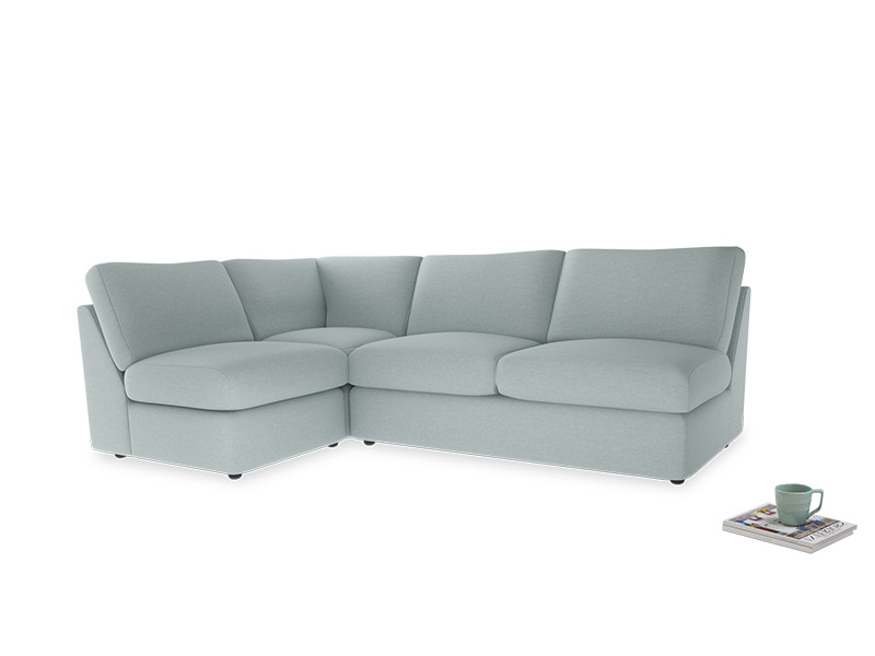 Large left hand Chatnap modular corner sofa bed in Duck Egg vintage linen