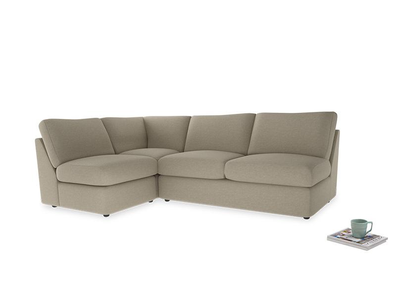 Large left hand Chatnap modular corner sofa bed in Jute vintage linen