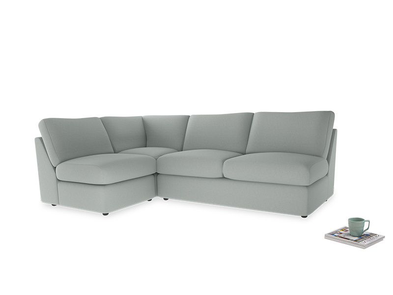Large left hand Chatnap modular corner sofa bed in French blue brushed cotton