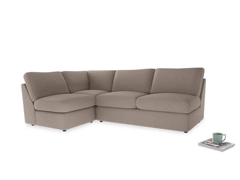 Large left hand Chatnap modular corner sofa bed in Driftwood brushed cotton