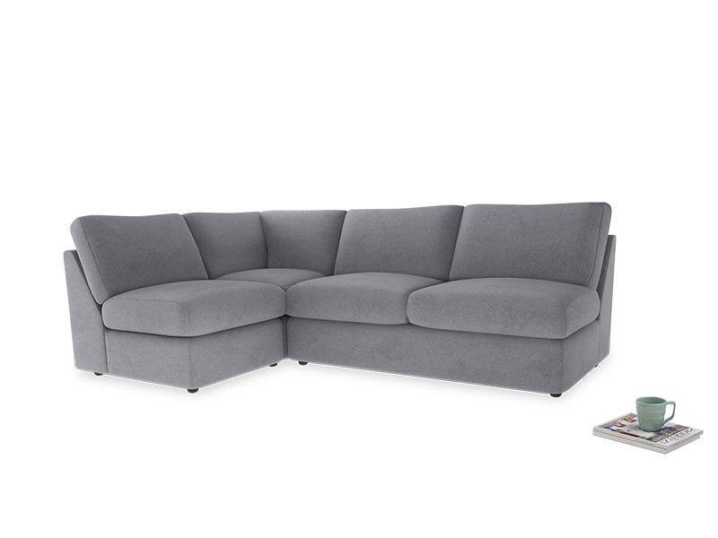 Large left hand Chatnap modular corner sofa bed in Dove grey wool