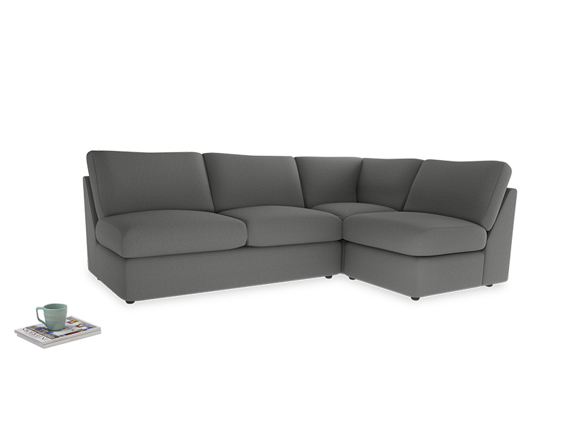 Large right hand Chatnap modular corner sofa bed in French Grey brushed cotton