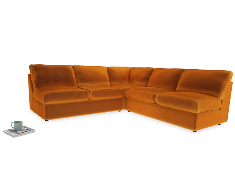 Even Sided  Chatnap modular corner storage sofa in Spiced Orange clever velvet