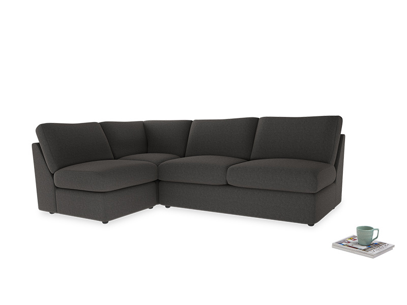Large left hand Chatnap modular corner storage sofa in Old Charcoal brushed cotton
