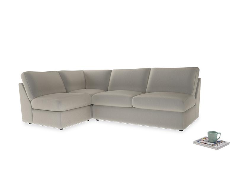 Large left hand Chatnap modular corner storage sofa in Smoky Grey clever velvet