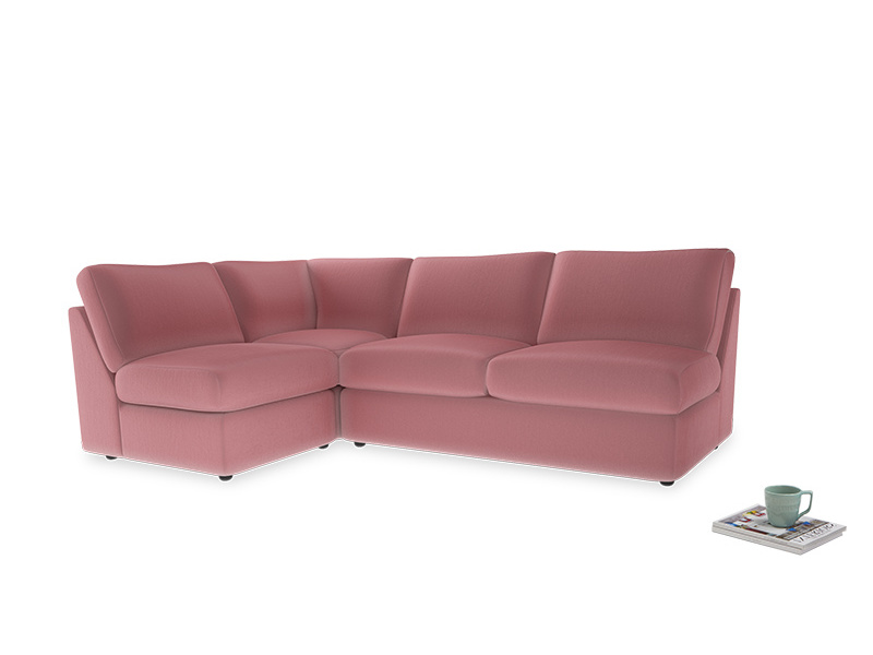 Large left hand Chatnap modular corner storage sofa in Dusty Rose clever velvet