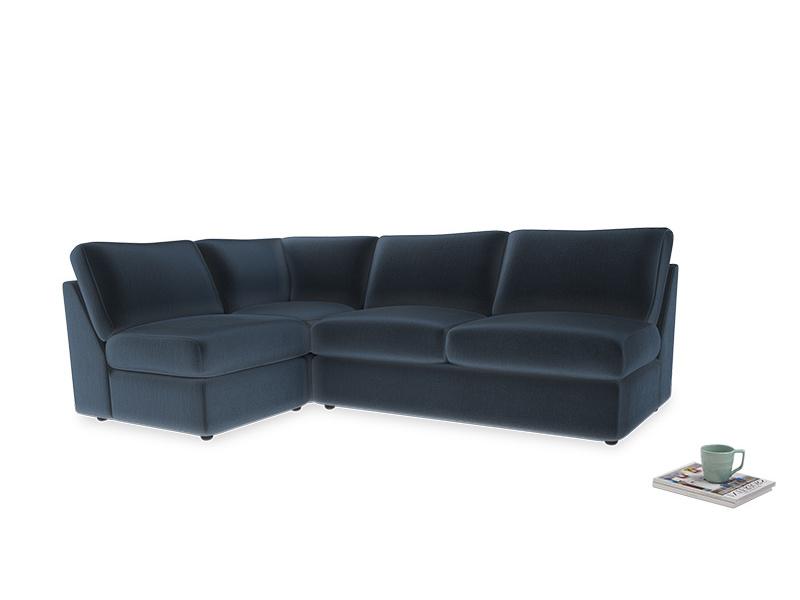 Large left hand Chatnap modular corner storage sofa in Liquorice Blue clever velvet