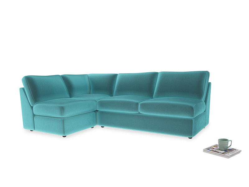 Large left hand Chatnap modular corner storage sofa in Belize clever velvet