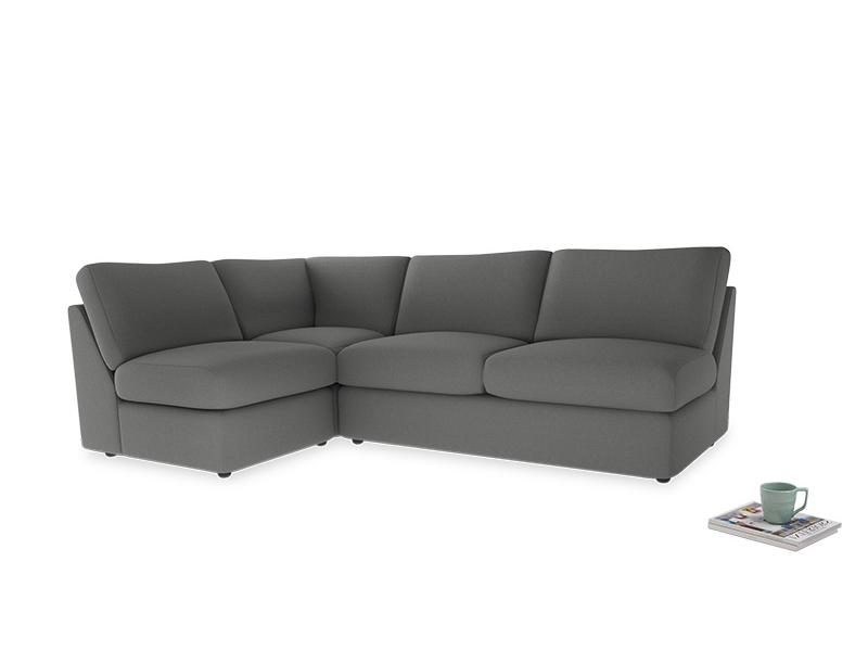Large left hand Chatnap modular corner storage sofa in French Grey brushed cotton