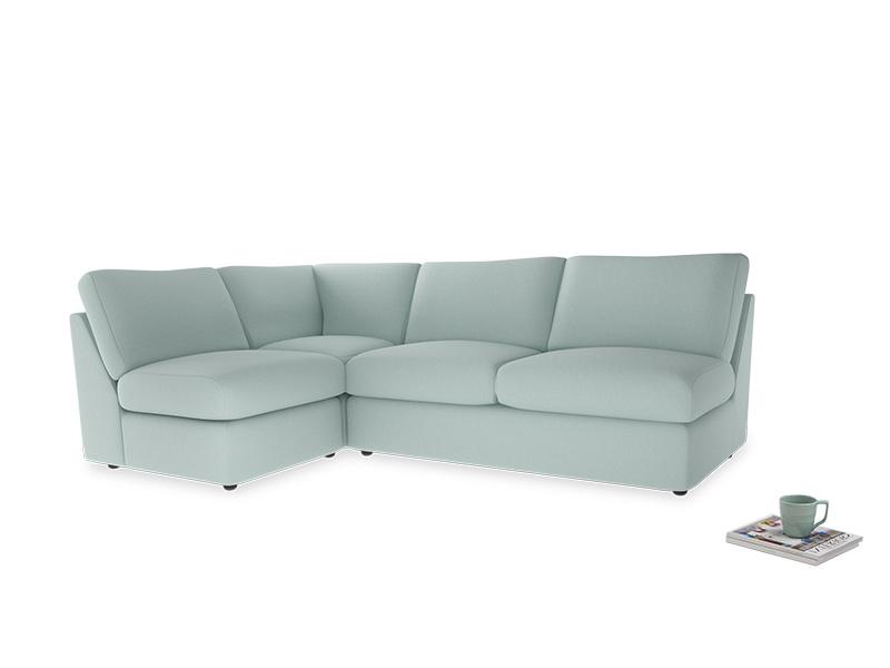 Large left hand Chatnap modular corner storage sofa in Gull's Egg Brushed Cotton