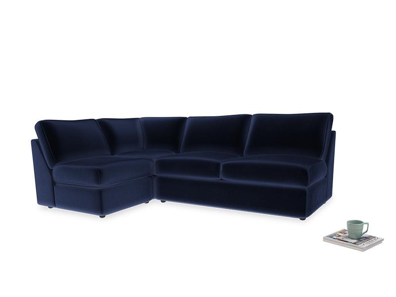 Large left hand Chatnap modular corner storage sofa in Midnight plush velvet