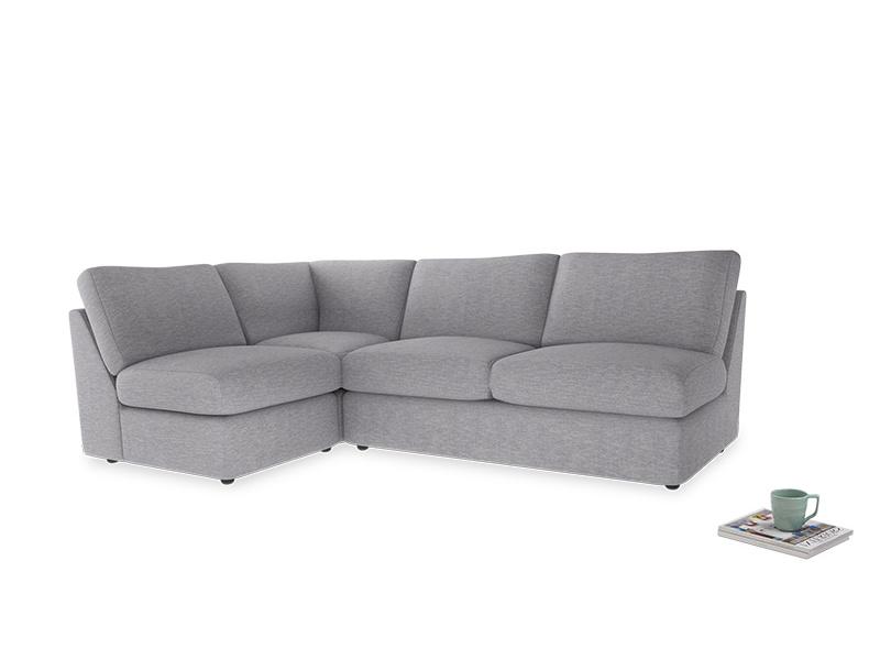 Large left hand Chatnap modular corner storage sofa in Storm cotton mix