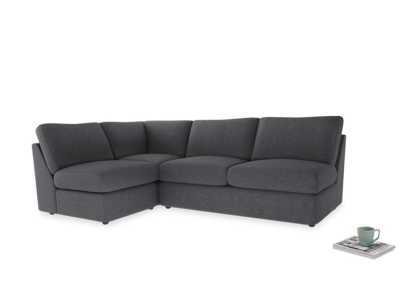 Large left hand Chatnap modular corner storage sofa in Lead cotton mix